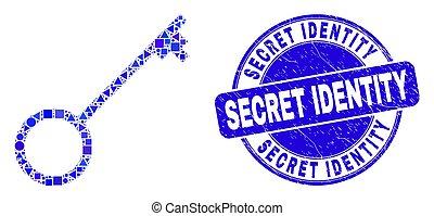 clã©, timbre, bleu, gratté, identité secrète, mosaïque
