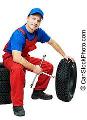 clé, automobile, mécanicien, pneu, voiture
