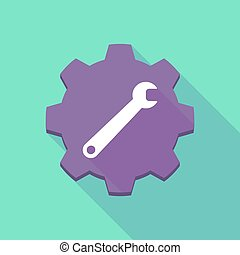 clé, ombre, engrenage, long, icône