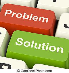 clés, assistance, résoudre, solution, informatique, ligne, problème, spectacles