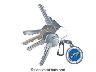 clés, charme, ensemble, divers