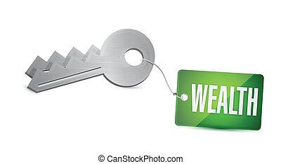 clés, concept, conception, richesse, illustration