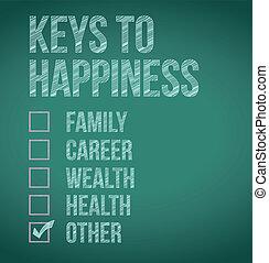 clés, conception, bonheur, illustration