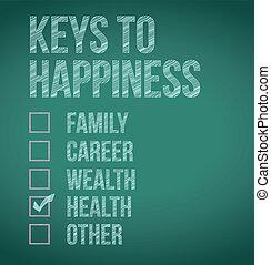 clés, conception, bonheur, illustration, health.