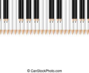 clés, crayons, musical, consister, instrument