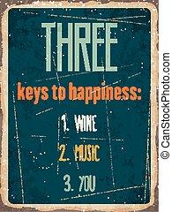 "clés, métal, you"", signe, ""three, retro, vin, musique, happiness:"