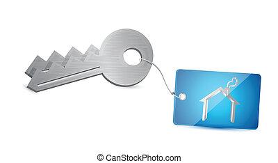 clés, maison, conception, illustration