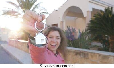 clés, maison, femme, heureux
