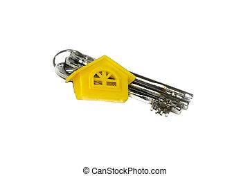 clés, maison, jaune