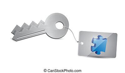 clés, puzzle, conception, illustration