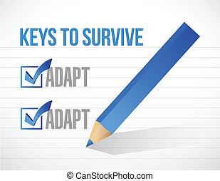 clés, survivre, conception, illustration
