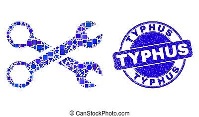 clés, typhus, timbre, bleu, gratté, cachet, mosaïque