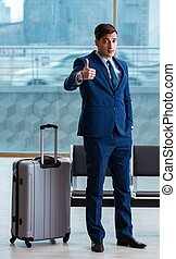 cla, attente, homme affaires, sien, business, avion, aéroport