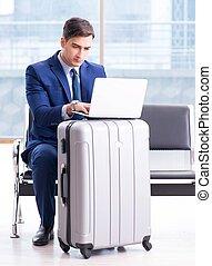 cla, business, attente, aéroport, avion, homme affaires, sien