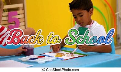 cla, peinture, numérique, texte, école, deux, dos, contre, multicolore, porter, tablier, animation, garçons