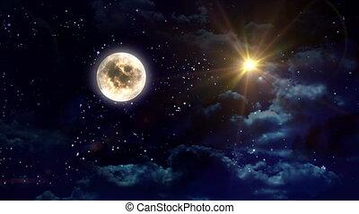clair, étoile, lune jaune