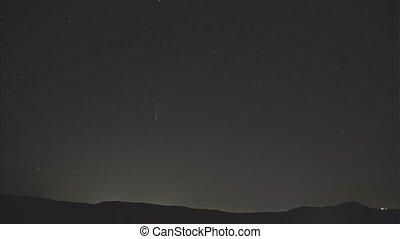clair, étoiles, comète, perpétuel, timelapse, ciel nuit, mouvement, espace