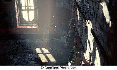 clair, abantoned, lumières, toilette, vieux, public