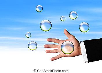 clair, attraper, bulles