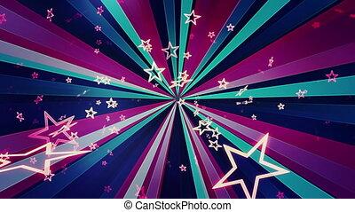 clair, boucle, étoiles, retro