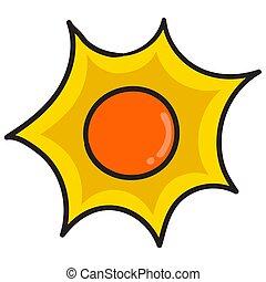 clair, briller, griffonnage, icône, soleil, kawaii., image