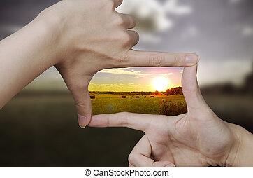 clair, coucher soleil, vision