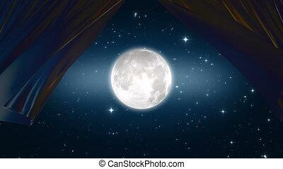 clair lune, beau, hd, stars., ultra, soyeux, lumière, éclat, 3d, enroulez ciel, animation, nuit, 3840x2160., 4k, rideaux, par, curtains., onduler, lune