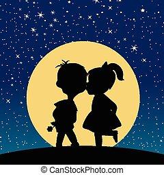 clair lune, garçon, girl, silhouette, baisers