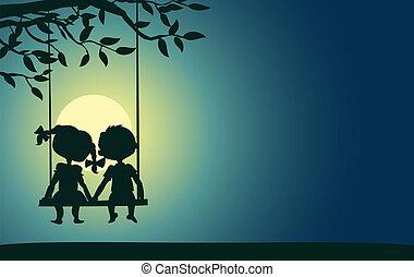 clair lune, garçon, silhouettes, girl