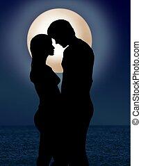 clair lune, romance, couple, sous