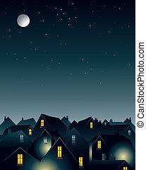 clair lune, sur, toits