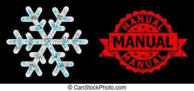 clair, manuel, timbre, réseau, flocon de neige, lightspots, grunge, polygonal