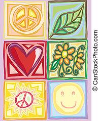 clair, paix, amour, boîtes