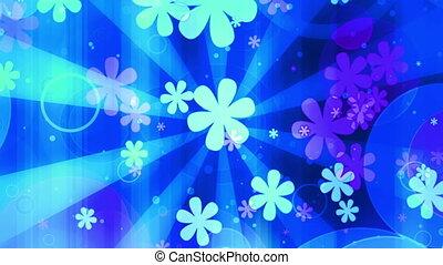 clair, retro, bleu, boucle, fleurs