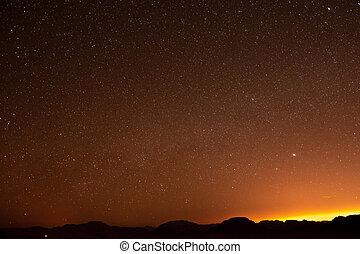 clair, rhum, nuit désertique, jordanie, étoile, oued