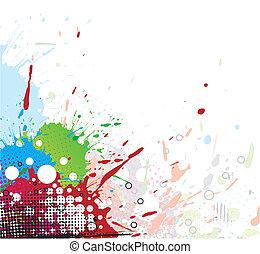 clair, splat, conception, coloré, encre
