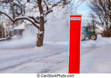 clairière, snowblower, tracteur, neige