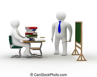 class., école, image., isolé, leçon, 3d