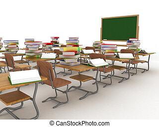 class., intérieur, école, image., 3d