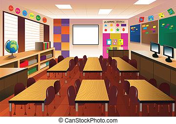 classe, école primaire, vide