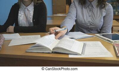 classe, écrit, cahier, jeune, pupille