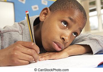 classe, étudier, malheureux, écolier