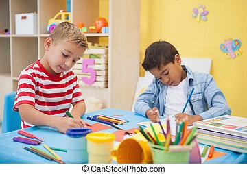 classe, art, peu, garçons, mignon, confection, ensemble