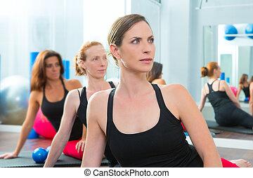 classe, femmes, aérobic, rang, groupe, beau