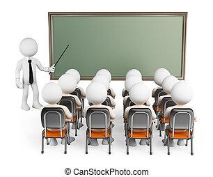 classe, gens., étudiants, 3d, blanc
