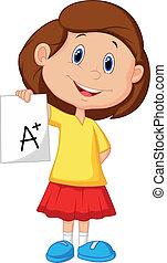 classe, girl, projection, plus, dessin animé