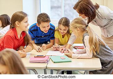 classe, gosses école, groupe, écriture, essai