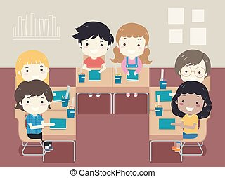 classe, gosses, étudiant, illustration, siège