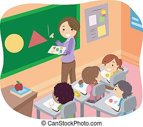 classe, gosses, stickman, illustration, formes, apprentissage
