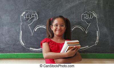 classe, hispanique, livres, tenue, fille souriant